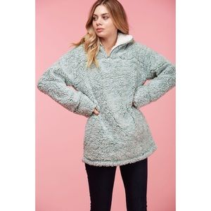 LAST ONE!! Sherpa Pullover-SAGE GREEN
